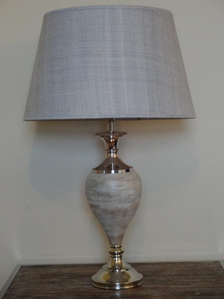 Grey Wood Grey Shade Lamp Image