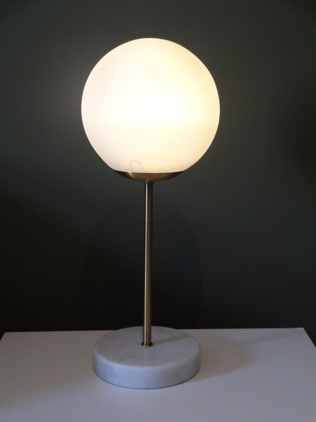 Marble Globe Lamp with Brass stem Image