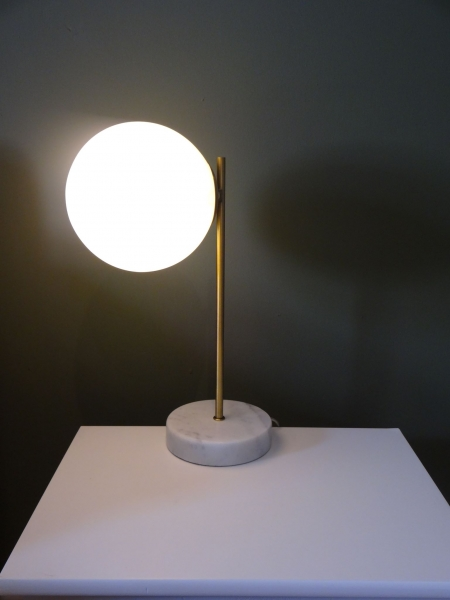 Marble Globe Lamp with Brass stem (side) Image