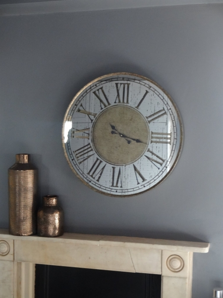 Distressed Mirror Wall Clock Image