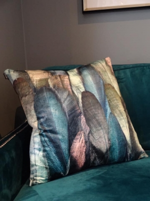 Indigo Feather Cushion Image