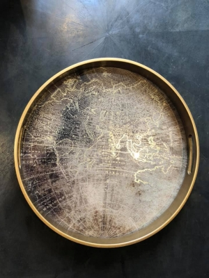 World Map Gold Tray Image