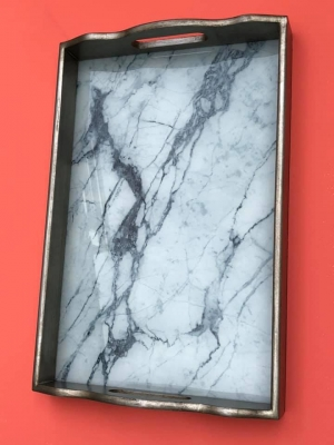 Marble Glass Tray 40cm Image